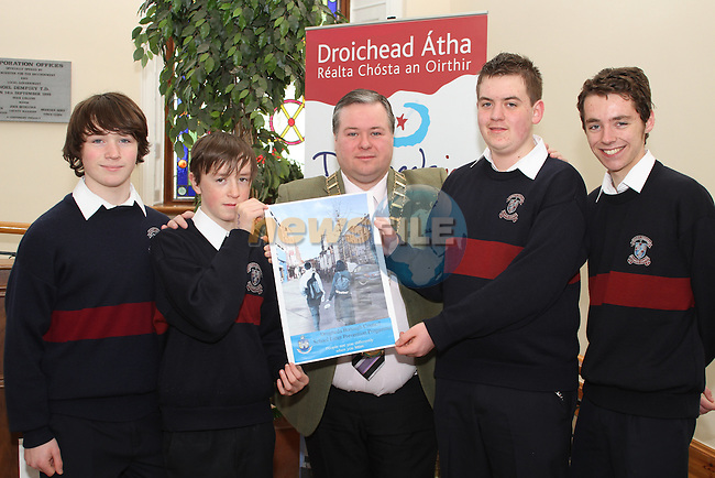 Dylan McKeown, David Hammond, David Phelan and Brandon Walsh from St.Marys School with Mayor Paul Bell at the Launch of the Schools Litter Prevention Programme at Drogheda Borough Council...(Photo credit should read Jenny Matthews/www.newsfile.ie)....This Picture has been sent you under the conditions enclosed by:.Newsfile Ltd..The Studio,.Millmount Abbey,.Drogheda,.Co Meath..Ireland..Tel: +353(0)41-9871240.Fax: +353(0)41-9871260.GSM: +353(0)86-2500958.email: pictures@newsfile.ie.www.newsfile.ie.