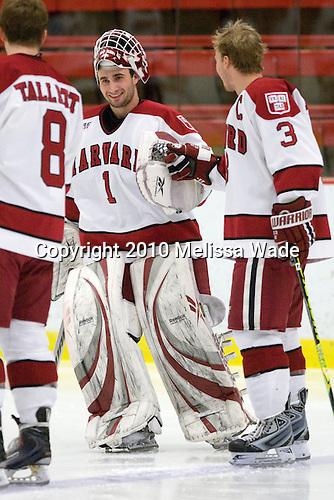 John Riley (Harvard - 1), Alex Biega (Harvard - 3) - The Colgate University Red Raiders defeated the Harvard University Crimson 4-2 (EN) on Saturday, February 20, 2010, at Bright Hockey Center in Cambridge, Massachusetts.