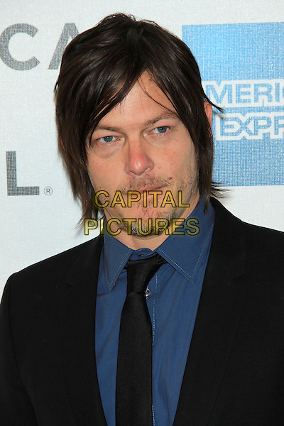 "Norman Reedus.attending the 2013 Tribeca Film Festival Premiere of ""Sunlight Jr."" held at the Tribeca Performing Arts Center, New York, NY, USA, .April 20th, 2013..portrait headshot  black suit tie blue shirt beard facial hair .CAP/LNC/TOM.©TOM/LNC/Capital Pictures."