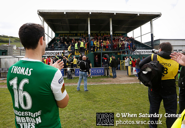 Aberystwyth Town 1 Newtown 2, 17/05/2015. Park Avenue, Europa League Play Off final. Aberystwyth's Wyn Thomas applauds the Newtown players as they prepare to receive the Play Off Winners trophy. Aberystwyth finished 14 points above Newtown in the Welsh Premier League, but were beaten 1-2 in the Play Off Final. Photo by Paul Thompson.