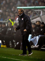 Jurgen Klinsmann, coach of team USA, celebrates after the Goal during the friendly match Slovenia against USA at the Stozice Stadium in Ljubljana, Slovenia on November 15th, 2011.