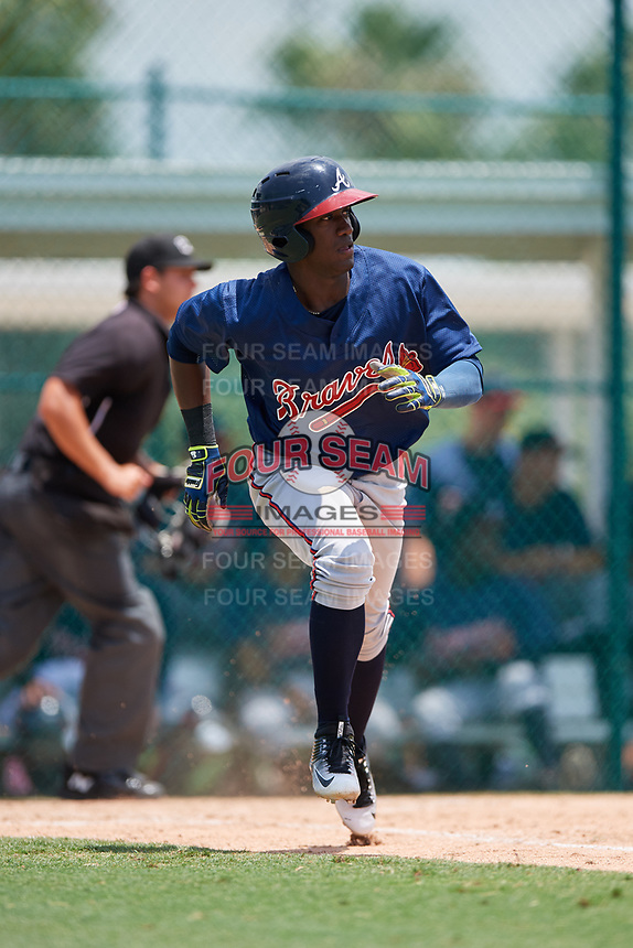 GCL Braves right fielder Yoeli Lopez (53) runs to first base during a game against the GCL Pirates on July 26, 2017 at Pirate City in Bradenton, Florida.  GCL Braves defeated the GCL Pirates 12-5.  (Mike Janes/Four Seam Images)