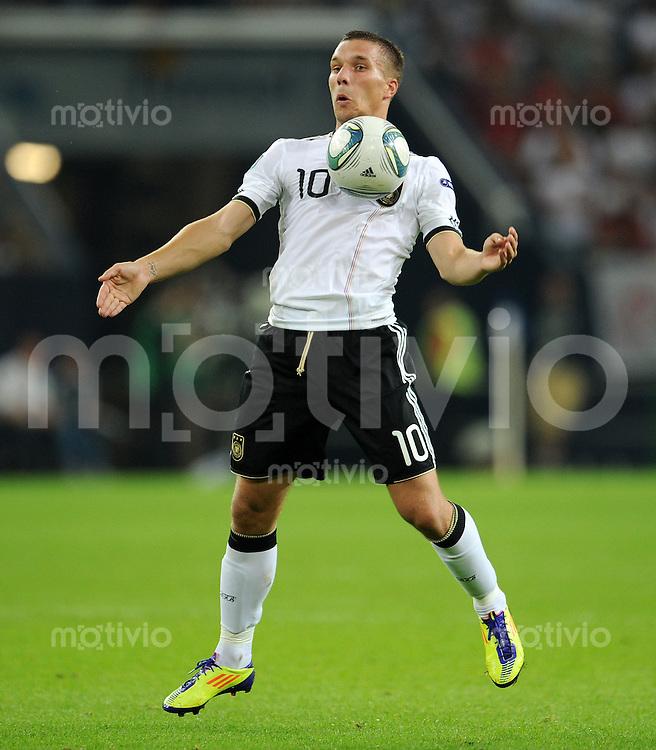 FUSSBALL INTERNATIONAL EM 2012 QUALIFIKATION  Deutschland - Oesterreich                       02.09.2012 Lukas PODOLSKI (Deutschland) am Ball
