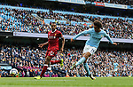 Manchester City's Leroy Sane scoring his sides fourth goal during the premier league match at the Etihad Stadium, Manchester. Picture date 9th September 2017. Picture credit should read: David Klein/Sportimage