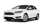 Stock pictures of low aggressive front three quarter view of 2015 Ford Focus Titanium 4 Door Sedan Low Aggressive