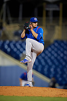 South Bend Cubs starting pitcher Jose Albertos (19) delivers a pitch during the second game of a doubleheader against the Lake County Captains on May 16, 2018 at Classic Park in Eastlake, Ohio.  Lake County defeated South Bend 5-2.  (Mike Janes/Four Seam Images)