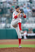 Greenville Drive starting pitcher Jake Drehoff (29) in action against the Greensboro Grasshoppers at NewBridge Bank Park on August 17, 2015 in Greensboro, North Carolina.  The Drive defeated the Grasshoppers 5-4 in 13 innings.  (Brian Westerholt/Four Seam Images)