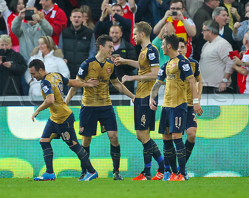 31.10.2015. Liberty Stadium, Swansea, Wales. Barclays Premier League. Swansea versus Arsenal. Arsenal's Laurent Koscielny celebrates with teammates after scoring Arsenal's second goal