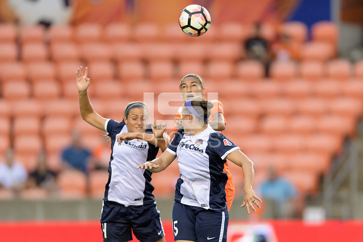 Houston, TX - Saturday July 15, 2017: Shelina Zadorsky, Poliana Barbosa Medeiros and Whitney Church during a regular season National Women's Soccer League (NWSL) match between the Houston Dash and the Washington Spirit at BBVA Compass Stadium.