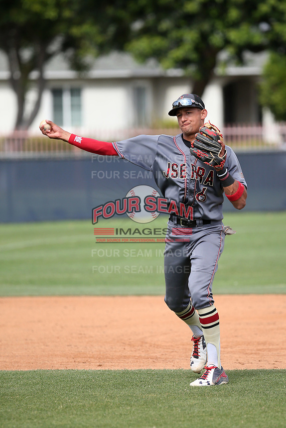 Royce Lewis (6) of the JSerra Catholic High School Lions in the field during a game against the St. John Bosco High School Braves at St. John Bosco H.S. on May 9, 2017 in Bellflower, California. (Larry Goren/Four Seam Images)