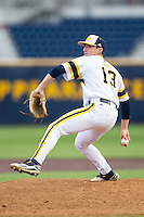Michigan Wolverines pitcher Keith Lehmann (13) delivers a pitch to the plate against the Eastern Michigan Hurons on May 3, 2016 at Ray Fisher Stadium in Ann Arbor, Michigan. Michigan defeated Eastern Michigan 12-4. (Andrew Woolley/Four Seam Images)