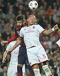 06.11.2013 Barcelona, Spain. Uefa Champions League Matchday 4 group H. Picture show Gerard Pique (L) and Philippe Mexes in action during game between FC Barcelona against AC Milan at Camp Nou