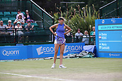 June 16th 2017, Nottingham, England; WTA Aegon Nottingham Open Tennis Tournament day 5;  Donna Vekic of Croatia disputes a call in her match against Maria Sakkari of Greece