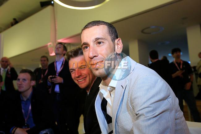 Defending Champion Vincenzo Nibali (ITA) at the 2014 Giro d'Italia Presentation held in the Palazzo del Ghiaccio in Milan, Italy. 7th October 2013.<br /> (Photo: Eoin Clarke/www.newsfile.ie)