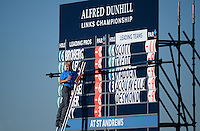 General View of a Leaderboard during Round 1 of the 2015 Alfred Dunhill Links Championship at the Old Course, St Andrews, in Fife, Scotland on 1/10/15.<br /> Picture: Richard Martin-Roberts | Golffile
