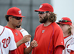 VIERA, FL-  FEBRUARY 26:  Ian Desmond and Jayson Werth of the Washington Nationals  during the Washington Nationals Spring Training at Space Coast Stadium in Viera, FL (Photo by Donald Miralle) *** Local Caption ***