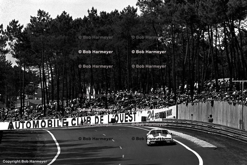 LE MANS, FRANCE: The Chevrolet Camaro of Tom Williams, Gene Felton and Billy Hagan is driven during the 24 Hours of Le Mans on June 20, 1982, at Circuit de la Sarthe in Le Mans, France.