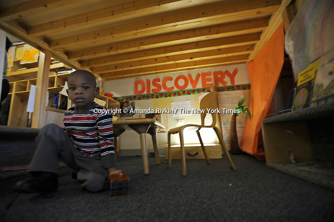 Keyvaun Singleton, 3, plays in Room 114 at the Educare Early Childhood Center in Chicago on November 21, 2008.  The pre-K daycare center is a model for head start, funded privately by the Gates and other foundations, that cares for and educates infants, toddlers, and 3- and 4-year old pre-school children.