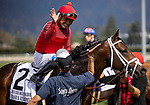 MAR 07: Abel Cedillo celebrates winning the Kilroe Mile aboard River Boyne at Santa Anita Park in Arcadia, California on March 7, 2020. Evers/Eclipse Sportswire/CSM