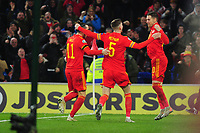 Aaron Ramsey of Wales celebrates scoring his side's second goal during the UEFA Euro 2020 Group E Qualifier match between Wales and Hungary at the Cardiff City Stadium in Cardiff, Wales, UK. Tuesday 19th November 2019