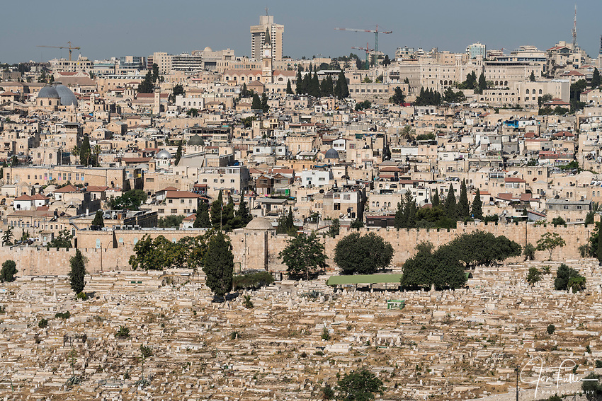 The Muslim cemetery outside the city walls with the Muslim Quarter in the Old City of Jerusalem as viewed from the Mount of Olives.  At upper left is the Christian Quarter.  The Old City of Jerusalem and its Walls is a UNESCO World Heritage Site.  At upper left are the two gray domes of the Church of the Holy Sepulchre. with the tall bell tower of the monastery and Church of Saint Saviour's in the center in the Christian Quarter.
