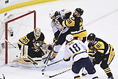 8th June 2017, Pittsburgh, PA, USA; Pittsburgh Penguins goalie Matt Murray (30) makes a save on Nashville Predators left wing James Neal (18) as Nashville Predators center Mike Fisher (12) and Pittsburgh Penguins defenseman Ian Cole (28) battle in front during the first period. Game Five was won 6-0 by the Pittsburgh Penguins against the Nashville Predators during the 2017 NHL Stanley Cup Final on June 8, 2017, at PPG Paints Arena in Pittsburgh, PA. The Penguins take a 3-2 series lead in the best of seven series with the victory.