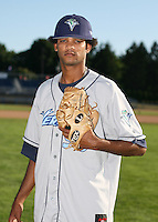 2007:  Edulin Abreu of the Vermont Lake Monsters, Class-A affiliate of the Washington Nationals, during the New York-Penn League baseball season.  Photo by Mike Janes/Four Seam Images