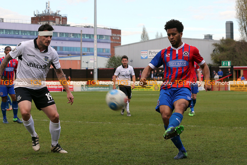 Craig McAllister of Eastleigh and Joe Widdowson of Dagenham during Dagenham & Redbridge vs Eastleigh, Vanarama National League Football at the Chigwell Construction Stadium on 1st April 2017
