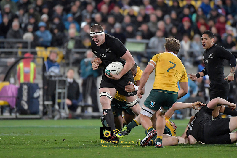 All Blacks' Brodie Retallick in action during the All Blacks v Wallabies. The Rugby Championship &amp; Bledisloe Cup at Westpac Stadium, Wellington, New Zealand on Saturday 27 August 2016.<br /> Photo by Masanori Udagawa. <br /> www.photowellington.photoshelter.com.