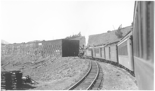 #470 with Shavano entering Marshall Pass snowshed.<br /> D&amp;RGW  Marshall Pass, CO  6/12/1934