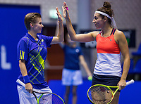 Rotterdam, Netherlands, December 16, 2017, Topsportcentrum, Ned. Loterij NK Tennis, Womans double final: Rosalie van der Hoek (NED) and Demi Schuurs (NED) (L)<br /> Photo: Tennisimages/Henk Koster