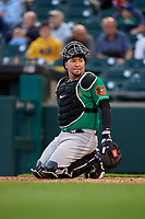 Norfolk Tides catcher Jesus Sucre (40) during an International League game against the Buffalo Bisons on June 21, 2019 at Sahlen Field in Buffalo, New York.  Buffalo defeated Norfolk 1-0, the second game of a doubleheader.  (Mike Janes/Four Seam Images)