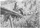 RGS #74 heading upgrade over trestle 45-B.<br /> RGS  Ophir, CO  Taken by Mead, Edgar T. - 1951