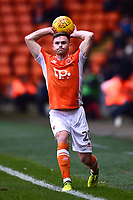 Blackpool's Oliver Turton takes a throw-in<br /> <br /> Photographer Richard Martin-Roberts/CameraSport<br /> <br /> The EFL Sky Bet League One - Blackpool v Walsall - Saturday 10th February 2018 - Bloomfield Road - Blackpool<br /> <br /> World Copyright &not;&copy; 2018 CameraSport. All rights reserved. 43 Linden Ave. Countesthorpe. Leicester. England. LE8 5PG - Tel: +44 (0) 116 277 4147 - admin@camerasport.com - www.camerasport.com