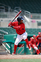 GCL Red Sox designated hitter Antoni Flores (19) at bat during a game against the GCL Rays on August 1, 2018 at JetBlue Park in Fort Myers, Florida.  GCL Red Sox defeated GCL Rays 5-1 in a rain shortened game.  (Mike Janes/Four Seam Images)