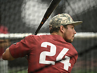 NWA Democrat-Gazette/ANDY SHUPE<br /> Arkansas center fielder Dominic Fletcher takes batting practice Friday, June 7, 2019, during practice in The Fowler Family Baseball and Track Training Center ahead of today's NCAA Super Regional game at Baum-Walker Stadium in Fayetteville. Visit nwadg.com/photos to see more photographs from the practices.
