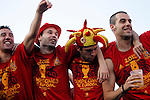 02.07.2012.Cazorla (l), Iniesta, Jordi Alba during  Tour of Madrid of the Spanish football team to celebrate their victory in Euro 2012 july 2012.(ALTERPHOTOS/ARNEDO)