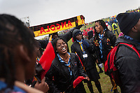 Angolan scouts danceing before the opening ceremony. Photo: Magnus Fröderberg/Scouterna