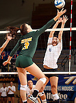 BROOKINGS, SD - OCTOBER 26:  Courtney Roberts #6 from South Dakota State tries tries to block a tip by Emily Minnick #3 from North Dakota State in the third game of their match Saturday evening at Frost Arena in Brookings. (Photo by Dave Eggen/Inertia)