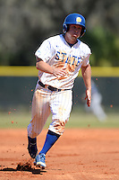 South Dakota State JackRabbits outfielder Scott Splett (7) runs the bases during a game against the Georgetown Hoyas at South County Regional Park on March 9, 2014 in Port Charlotte, Florida.  Georgetown defeated South Dakota 7-4.  (Mike Janes/Four Seam Images)