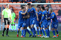 Rochdale's Ryan Delaney (#5) celebrates scoring his side's equalising goal to make the score 1-1 with team-mate Ollie Rathbone<br /> <br /> Photographer Stephen White/CameraSport<br /> <br /> The EFL Sky Bet League One - Blackpool v Rochdale - Saturday 6th October 2018 - Bloomfield Road - Blackpool<br /> <br /> World Copyright &copy; 2018 CameraSport. All rights reserved. 43 Linden Ave. Countesthorpe. Leicester. England. LE8 5PG - Tel: +44 (0) 116 277 4147 - admin@camerasport.com - www.camerasport.com