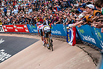 Leading group with World Champion Peter SAGAN (SVK) Bora-Hansgrohe winning and Silvan DILLIER (SUI) AG2R finishing 2nd, during the 2018 Paris-Roubaix race at Velodrome Roubaix, France, 8 April 2018, Photo by Pim Nijland / PelotonPhotos.com | All photos usage must carry mandatory copyright credit (Peloton Photos | Pim Nijland)