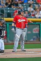 Jesus Sucre (36) of the Tacoma Rainiers at bat against the Salt Lake Bees in Pacific Coast League action at Smith's Ballpark on July 22, 2016 in Salt Lake City, Utah. The Rainiers defeated the Bees 8-3. (Stephen Smith/Four Seam Images)