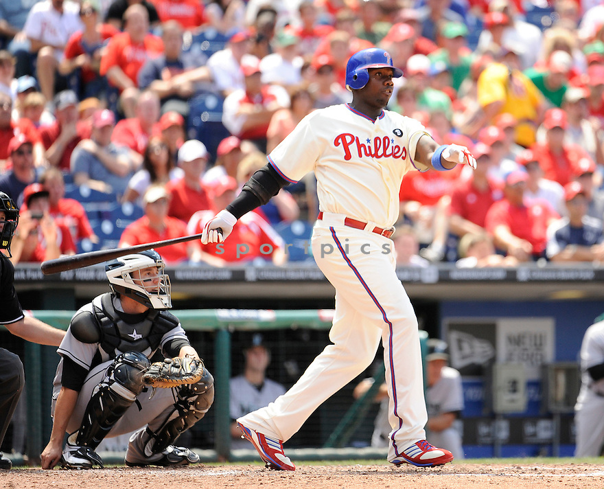 RYAN HOWARD, of the Philadelphia Phillies, in action during the Phillies game against the Florida Marlins on June 15, 2011 at  Citizens Bank Park in Philadelphia, Pennsylvania. The Phillies beat the Marlins 8-1.