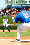 3 July 2005: Nomar Garciaparra, shortstop for the Chicago Cubs, catches the ceremonial first pitch from his wife and International soccer star Mia Hamm at Wrigley Field where the Cubs hosted the Washington Nationals. The Nationals defeated the Cubs 5-4 in 12 innings to sweep the 3-game series at Wrigley Field in Chicago, IL. Mandatory Photo Credit: Ed Wolfstein