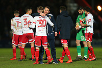 Stevenage manager Darren Sarll congratulates Mark McKee at the final whistle during Stevenage vs Reading, Emirates FA Cup Football at the Lamex Stadium on 6th January 2018