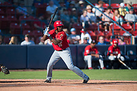 Vancouver Canadians shortstop Jesus Severino (10) at bat during a Northwest League game against the Spokane Indians at Avista Stadium on September 2, 2018 in Spokane, Washington. The Spokane Indians defeated the Vancouver Canadians by a score of 3-1. (Zachary Lucy/Four Seam Images)