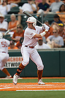Texas Longhorns outfielder Collin Shaw #4 at bat during the NCAA baseball game against the Oklahoma State Cowboys on April 26, 2014 at UFCU Disch–Falk Field in Austin, Texas. The Cowboys defeated the Longhorns 2-1. (Andrew Woolley/Four Seam Images)