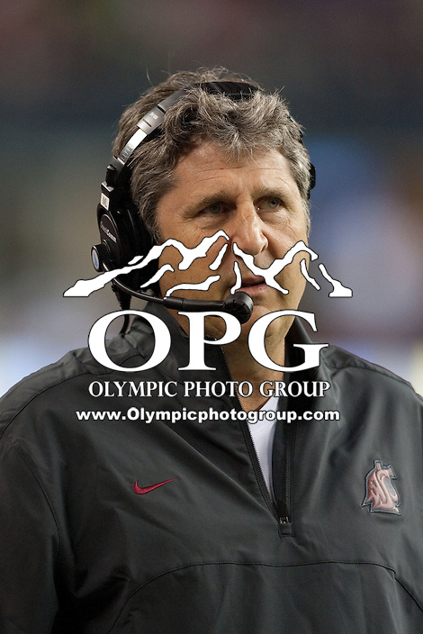 Sep  30, 2012:  Washington State head coach Mike Leach watches his team from the sidelines against Oregon.  Oregon defeated Washington State 51-26 at Century Link Stadium in Seattle, Washington...
