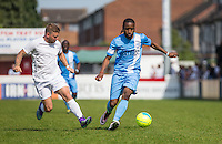 Shameek Farrell of Celeb FC in action during the 'Greatest Show on Turf' Celebrity Event - Once in a Blue Moon Events at the London Borough of Barking and Dagenham Stadium, London, England on 8 May 2016. Photo by Andy Rowland.